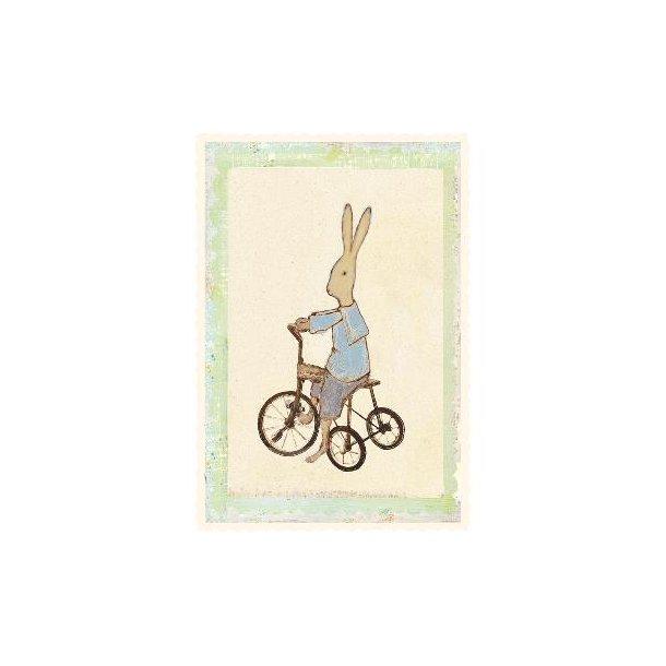 Maileg Kort Rabbitboy on bike