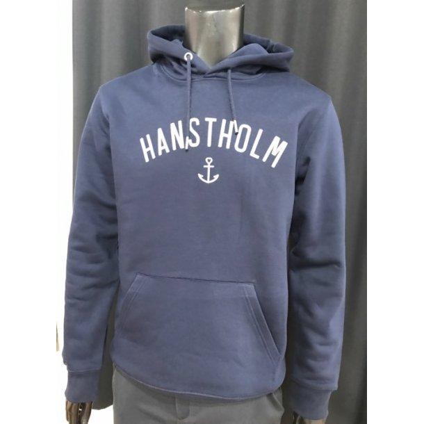 Hoddie Hanstholm blå m. hvid tryk